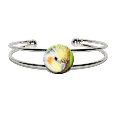 Cockatiel - Bird Pet Silver Plated Metal Cuff Bracelet