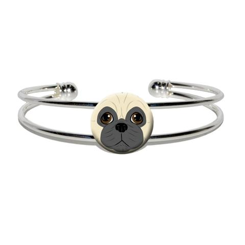 Pug Face - Dog Pet Silver Plated Metal Cuff Bracelet