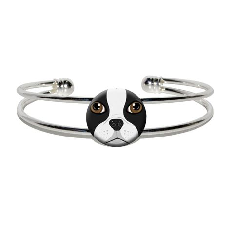 Boston Terrier Face - Dog Pet Silver Plated Metal Cuff Bracelet