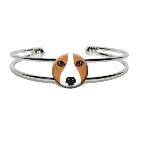 Beagle Face - Dog Pet Silver Plated Metal Cuff Bracelet