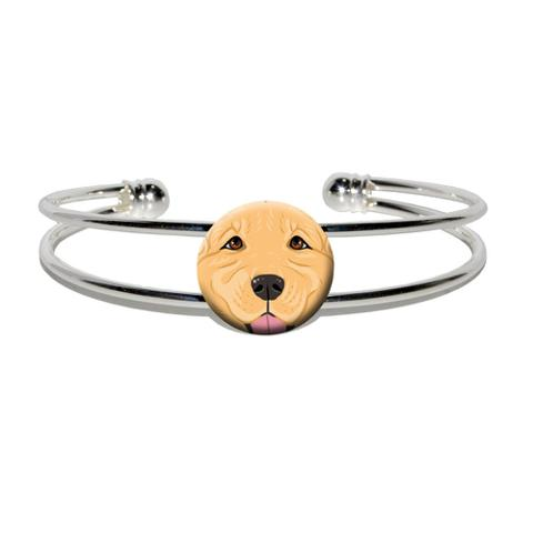 Golden Retriever Face - Pet Dog Silver Plated Metal Cuff Bracelet
