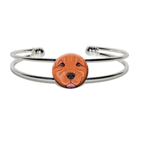 Dark Red Golden Retriever Face - Pet Dog Silver Plated Metal Cuff Bracelet