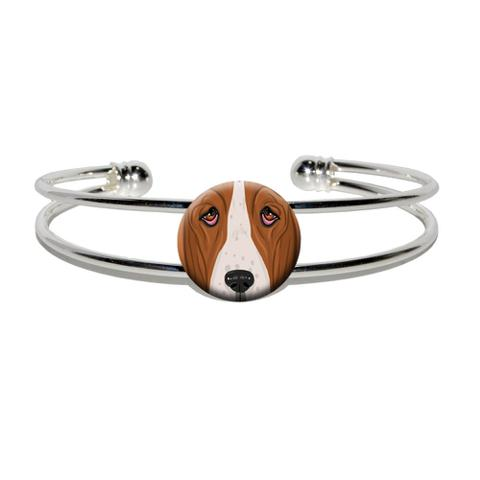 Basset Hound Face - Dog Pet Silver Plated Metal Cuff Bracelet