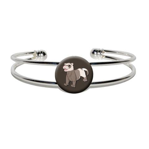 Ferret - Pet Brown Silver Plated Metal Cuff Bracelet