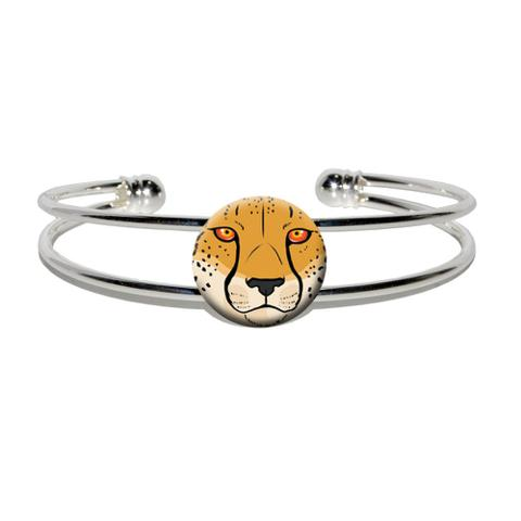 Cheetah Face - Safari Big Cat Silver Plated Metal Cuff Bracelet