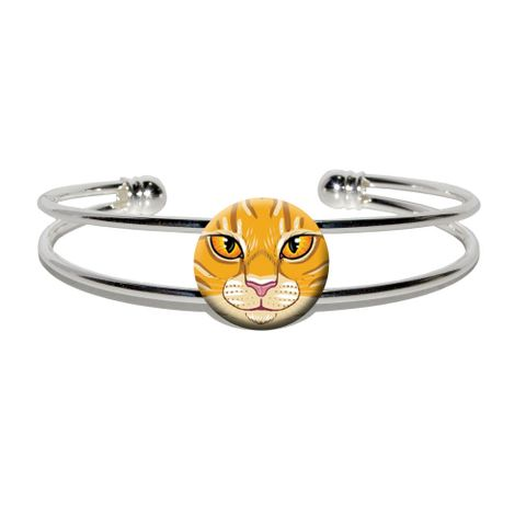 Orange Tabby Cat Face - Pet Kitty Silver Plated Metal Cuff Bracelet