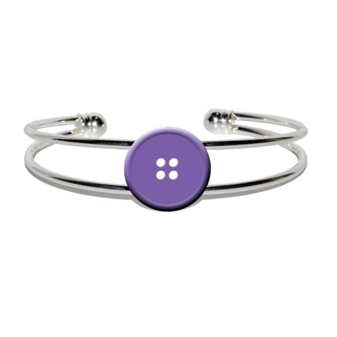 Purple Clothing Button - Sewing Silver Plated Metal Cuff Bracelet