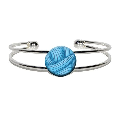 Blue Yarn Ball - Crochet Silver Plated Metal Cuff Bracelet