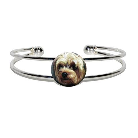 Yorkshire Terrier - Yorkie Dog Pet Silver Plated Metal Cuff Bracelet
