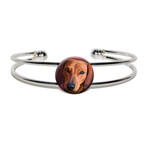 Dachshund - Weiner Dog Pet Silver Plated Metal Cuff Bracelet