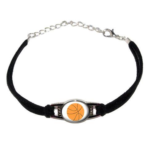 Basketball Novelty Suede Leather Metal Bracelet