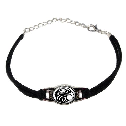 Eagle Hawk Raptor Bird Novelty Suede Leather Metal Bracelet