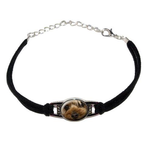 Yorkshire Terrier Yorkie Dog - Closeup Novelty Suede Leather Metal Bracelet