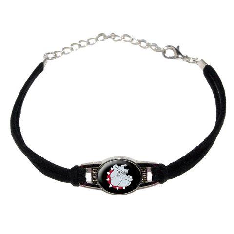 Bulldog Dog Novelty Suede Leather Metal Bracelet