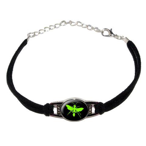 Hornet Wasp - Green Novelty Suede Leather Metal Bracelet