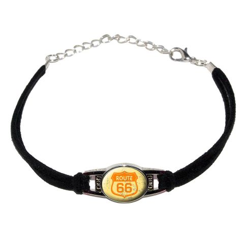Route 66 Vintage Novelty Suede Leather Metal Bracelet
