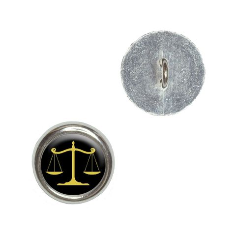 Balanced Scales of Justice Symbol Legal Lawyer Gold and Black Buttons - Set of 4