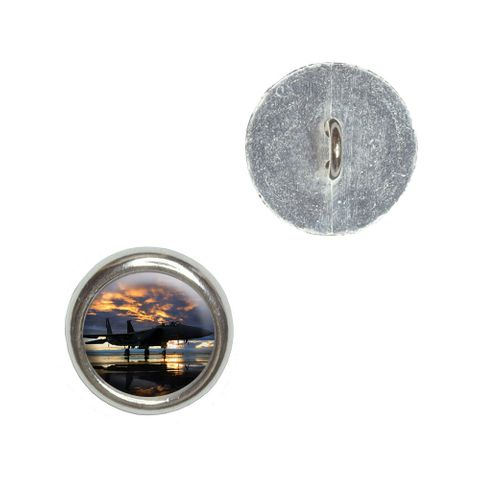 Aircraft Jet Fighter at Sunset - Air Force Buttons - Set of 4