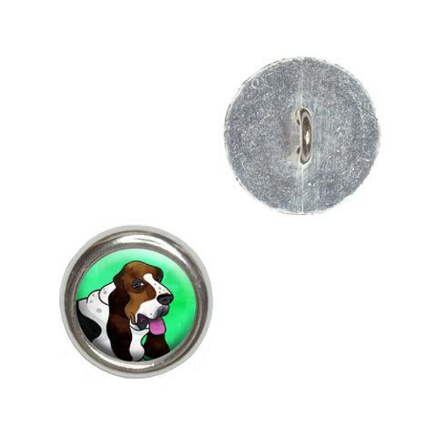 Basset Hound Green Buttons - Set of 4