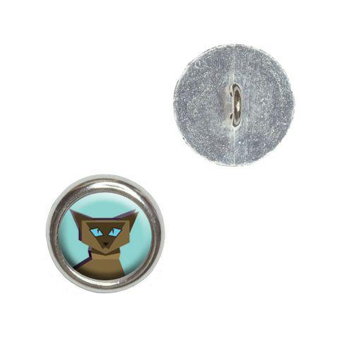 Geometric Cat Siamese Dark Buttons - Set of 4