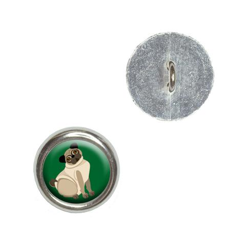 Pug Green - Dog Pet Buttons - Set of 4
