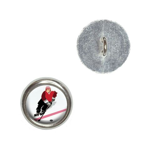 Ice Hockey Player Red Jersey Buttons - Set of 4