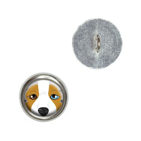 Australian Shepherd Face - Aussie Dog Buttons - Set of 4