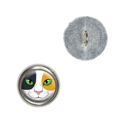 Calico Cat Face - Pet Kitty Buttons - Set of 4
