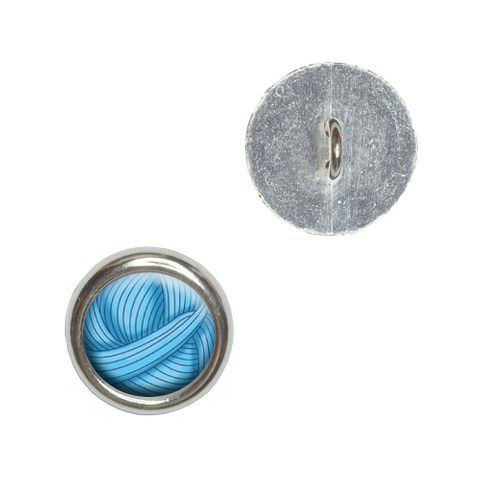 Blue Yarn Ball - Crochet Buttons - Set of 4