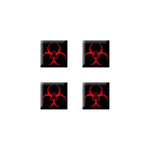 Biohazard Distressed Red Black Zombie - Set of 3D Stickers
