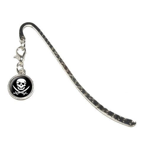 Pirate Skull Crossed Swords - Jolly Roger Metal Bookmark with Charm