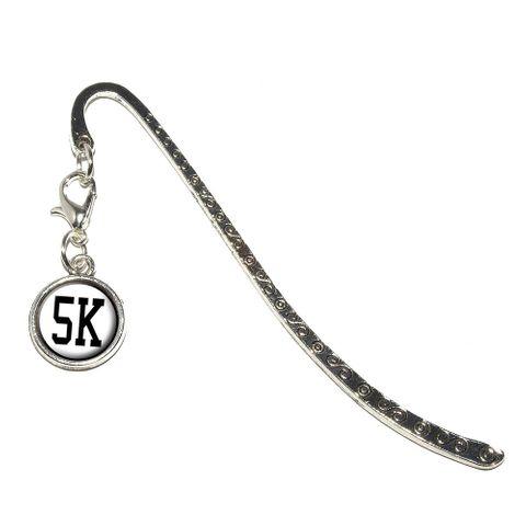 5K Running - Marathon Jogging Metal Bookmark with Charm