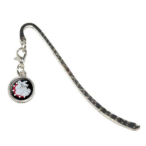 Bulldog Dog Metal Bookmark with Charm