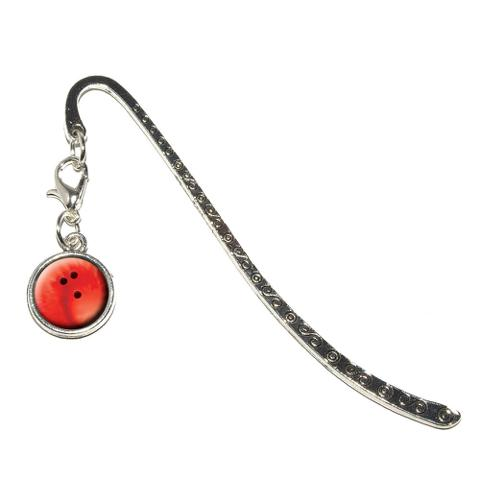 Bowling Ball Sporting Goods Sportsball Metal Bookmark with Charm