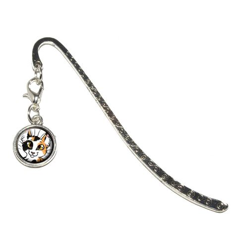 Calico Cat - Pet Metal Bookmark with Charm