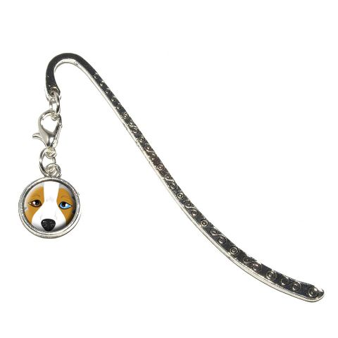 Australian Shepherd Face - Aussie Dog Pet Metal Bookmark with Charm