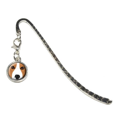 Beagle Face - Dog Pet Metal Bookmark with Charm