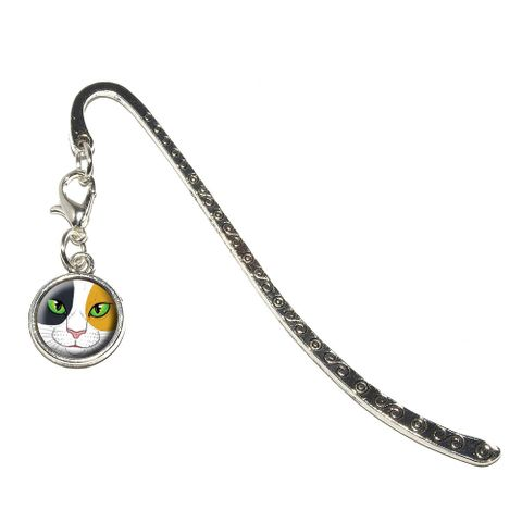 Calico Cat Face - Pet Kitty Metal Bookmark with Charm