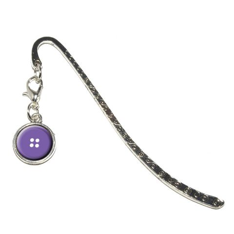Purple Clothing Button - Sewing Metal Bookmark with Charm