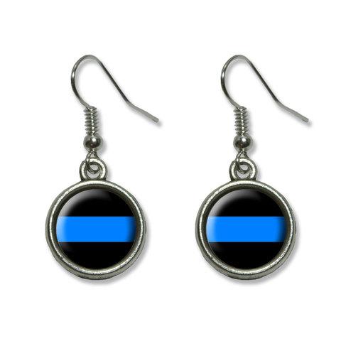 Thin Blue Line Dangling Drop Earrings