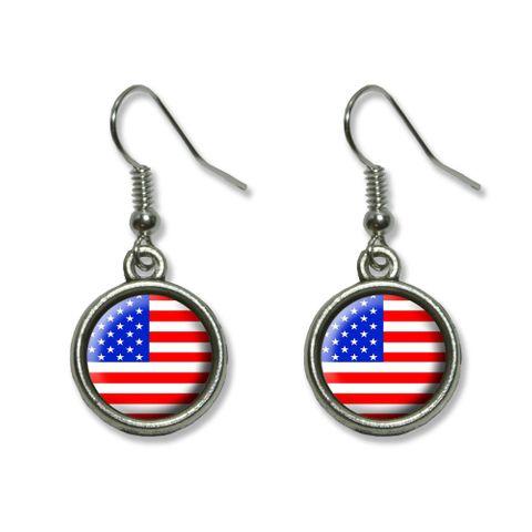 American USA Flag - Patriotic Dangling Drop Earrings