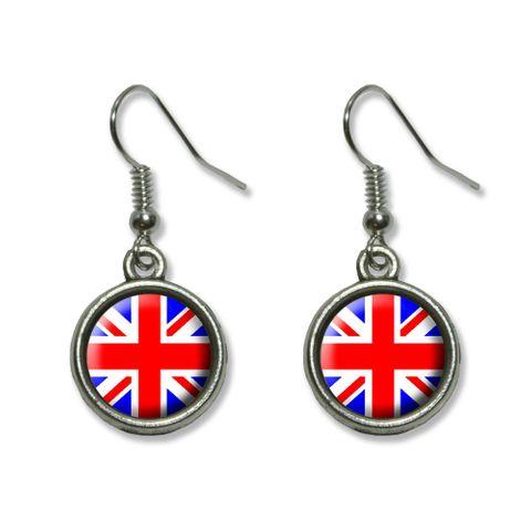 Britain British Flag - Union Jack Dangling Drop Earrings