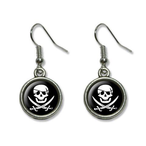 Pirate Skull Crossed Swords - Jolly Roger Dangling Drop Earrings