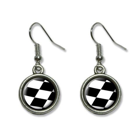 Checkered Flag - Racing Dangling Drop Earrings