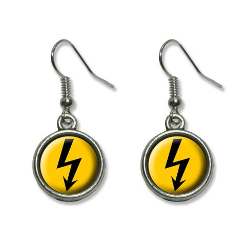 High Voltage Symbol - Black on Yellow Dangling Drop Earrings