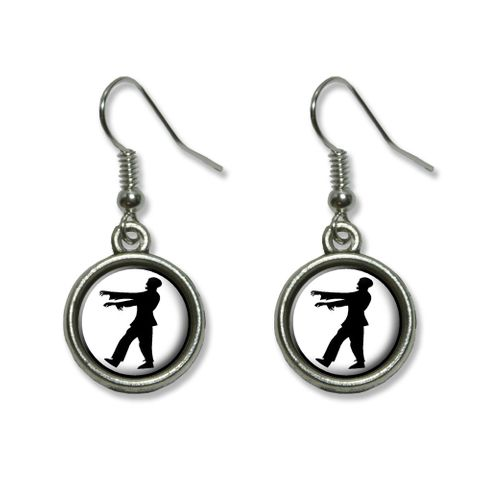 Zombie Walking - Black on White Dangling Drop Earrings