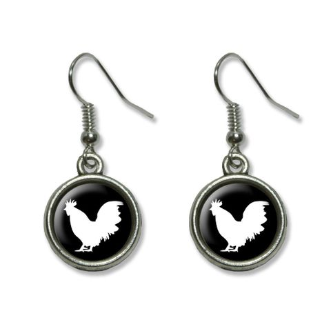 Rooster - Cock Dangling Drop Earrings