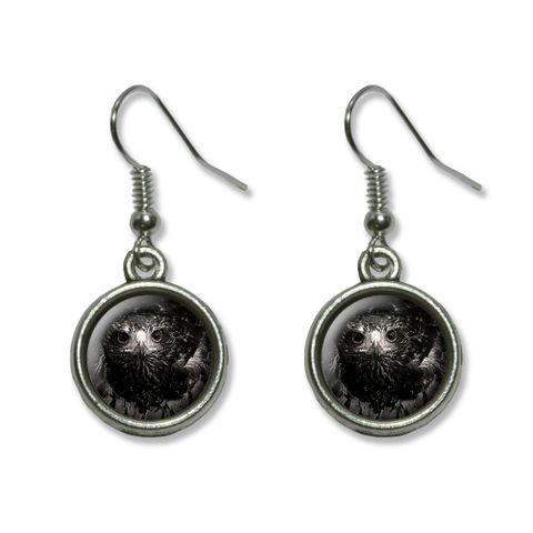 Hawk on Black and White - Raptor Avian Dangling Drop Earrings