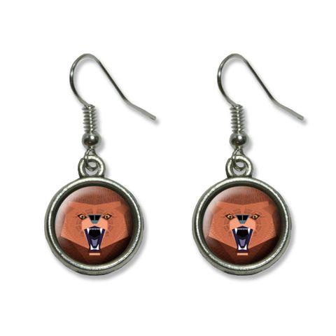 Geometric Bear Red Purple Dangling Drop Earrings