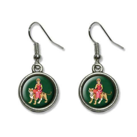 Hindu Deity Durga Dangling Drop Earrings